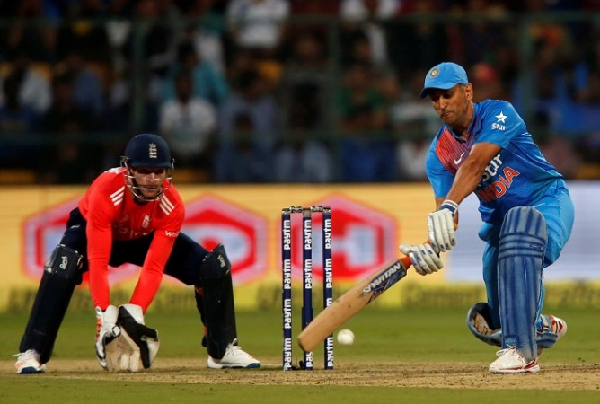 India batsman MS Dhoni in a punishing mood during his half-century against England in the third T20 match, February 1, 2017