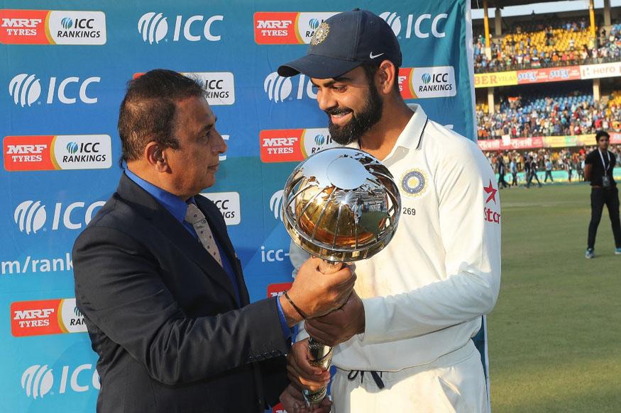 ICC Mace Being Given To Skipper Virat Kohli