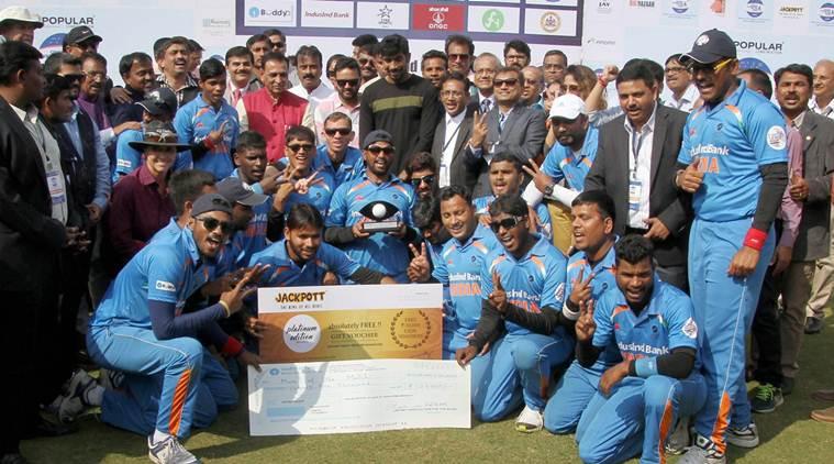 Ahmedabad: Gujarat Chief Minister Vijay Rupani with blind Indian cricket team players at Blind Cricket Tournament 2nd T20 World Cup 2017, at Sardar Patel Stadium Navarangpura in Ahmedabad on Saturday