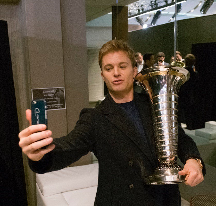 Nico Posing With The Trophy