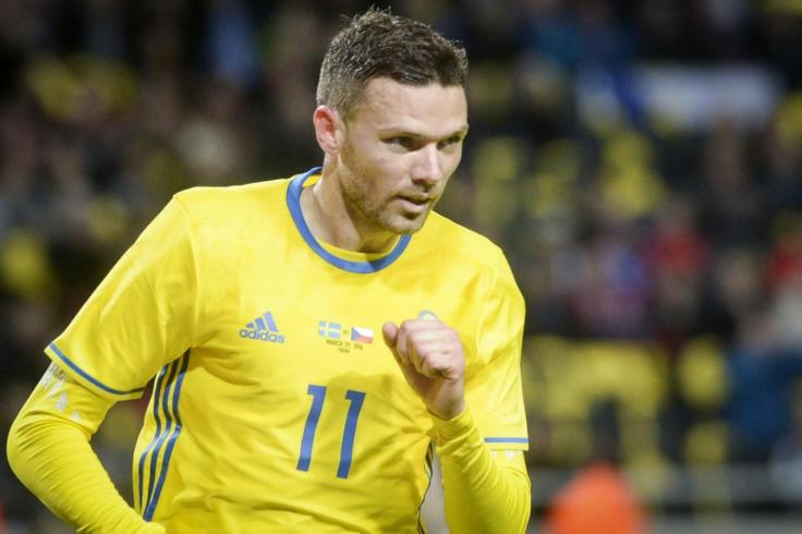 Sweden's Marcus Berg celebrates scoring the opening goal during the friendly soccer match between Sweden and Czech Republic at Friends Arena in Stockholm